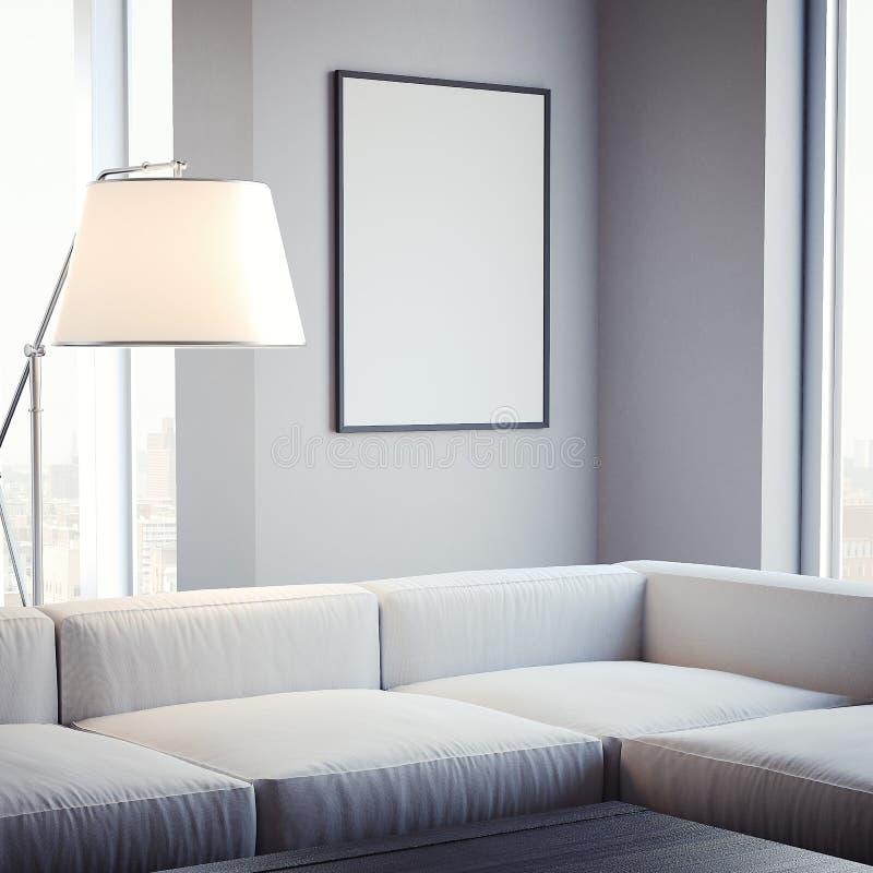 Wohnzimmer mit leerem Bilderrahmen auf der Wand Wiedergabe 3d stock abbildung