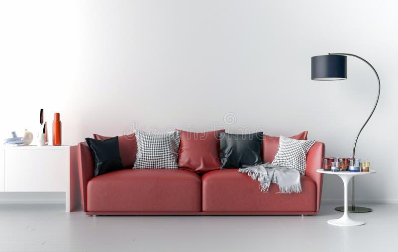 Wohnzimmer Mit Leerer Wand Im Hintergrund Stock Abbildung ...