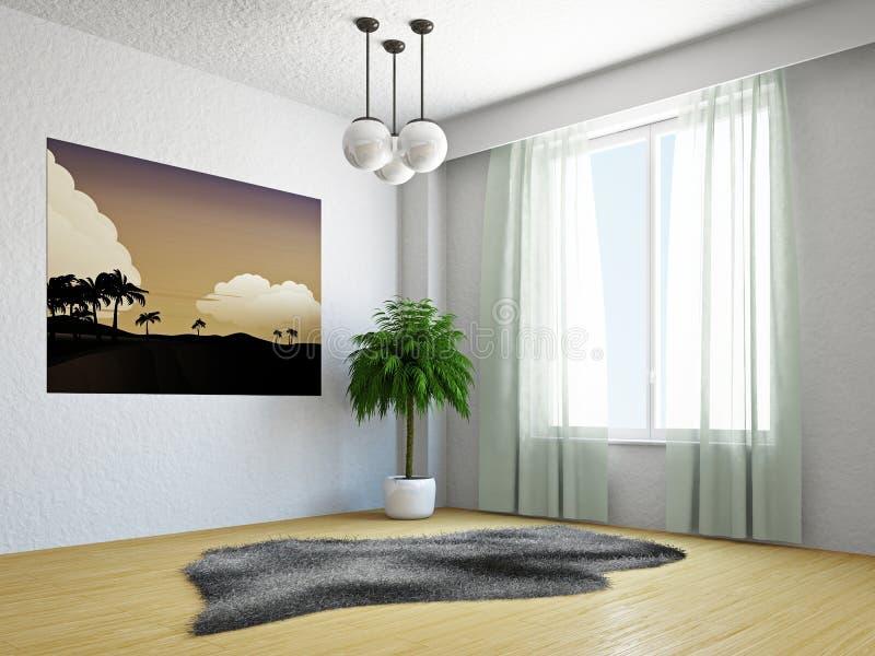 Wohnzimmer mit palme stock abbildung illustration von - Palme wohnzimmer ...