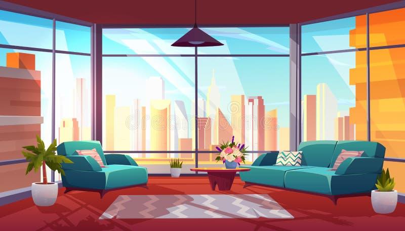 Wohnzimmer mit panoramischem Fenster, gemütliche Wohnung lizenzfreie abbildung