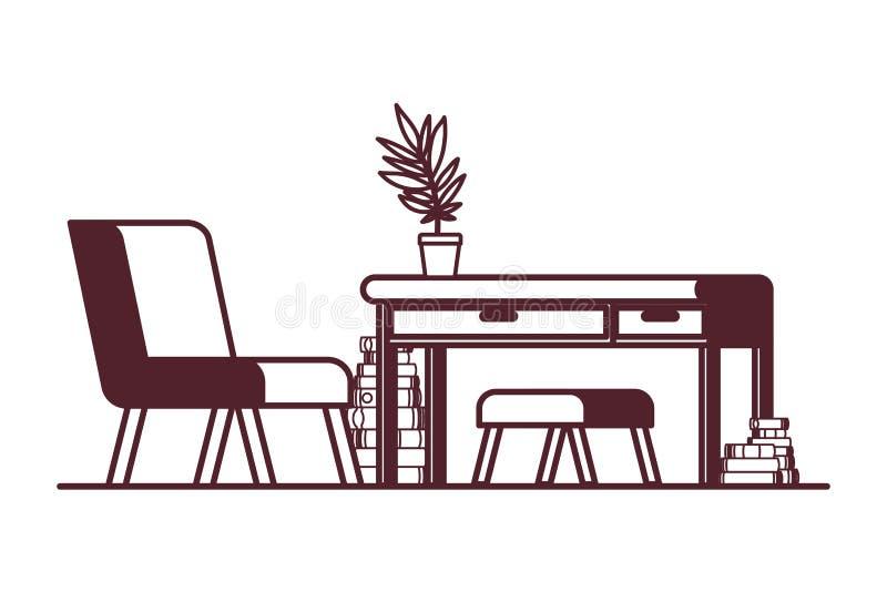 Wohnzimmer mit Schreibtisch und Büchern lizenzfreie abbildung