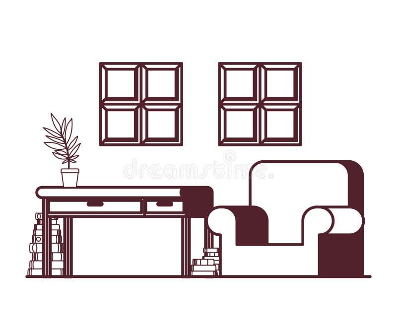 Wohnzimmer mit Schreibtisch und Büchern stock abbildung