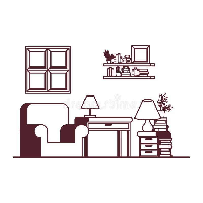 Wohnzimmer mit Schreibtisch und Büchern vektor abbildung