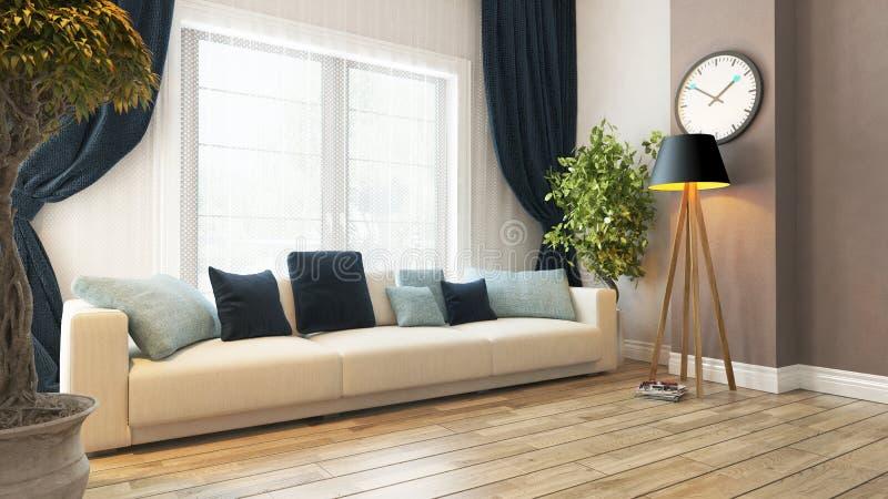 Wohnzimmer mit Sitz- und des Vorhangs3d Wiedergabe vektor abbildung
