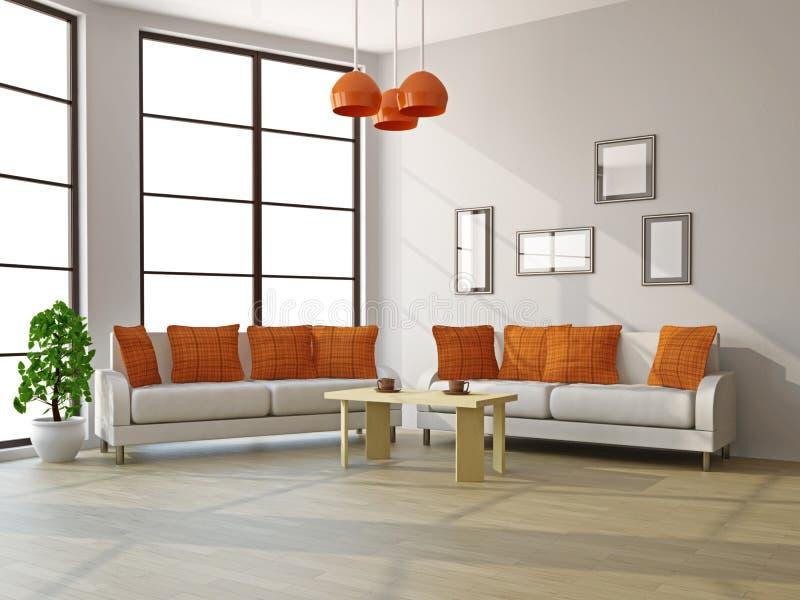 Wohnzimmer mit Sofas und einer Tabelle vektor abbildung