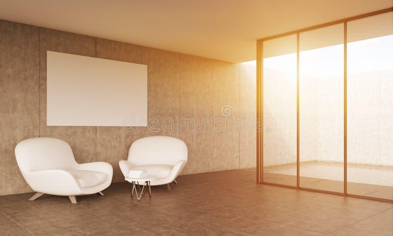Wohnzimmer mit weißen Sofas und Plakat stock abbildung