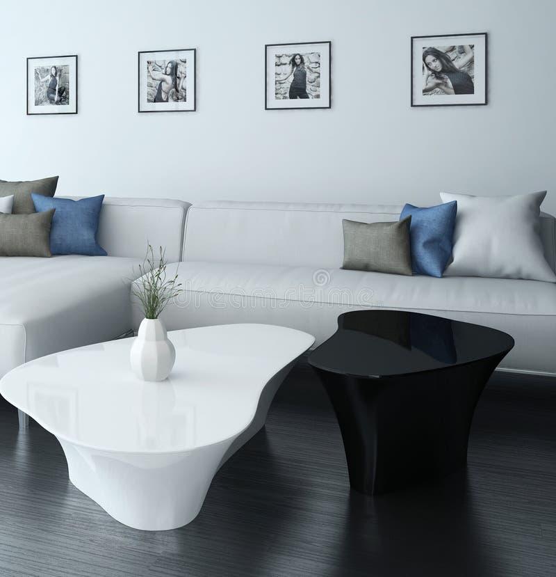 Download Wohnzimmer Mit Weißer Couch Und Porträts Auf Wand Stock Abbildung    Illustration Von Dachboden,