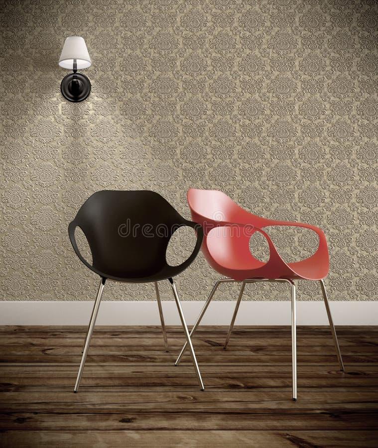 Wohnzimmer mit zwei Stühlen schwarz und rot mit Weinlesewand Wiedergabe 3d lizenzfreie abbildung