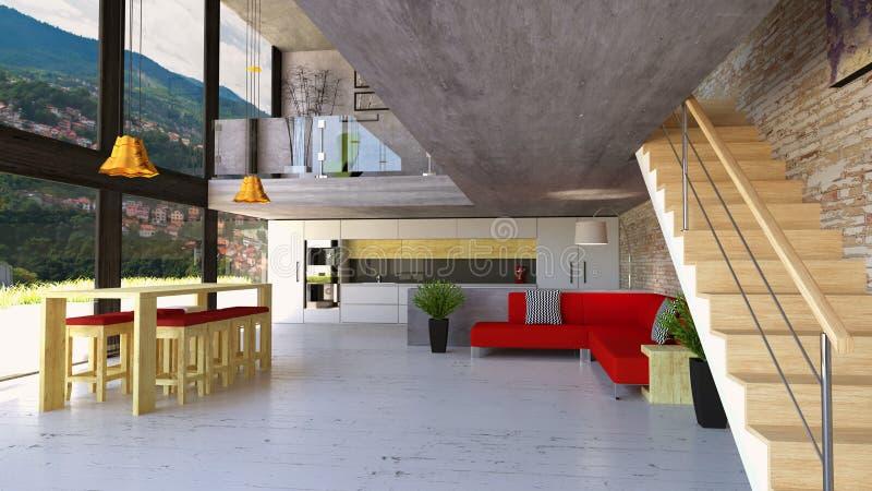 Wohnzimmer und Küche mit großen Fenstern auf zwei Böden Luxuswohnung, die das Leben und das Esszimmer übersieht Moderne Art stock abbildung