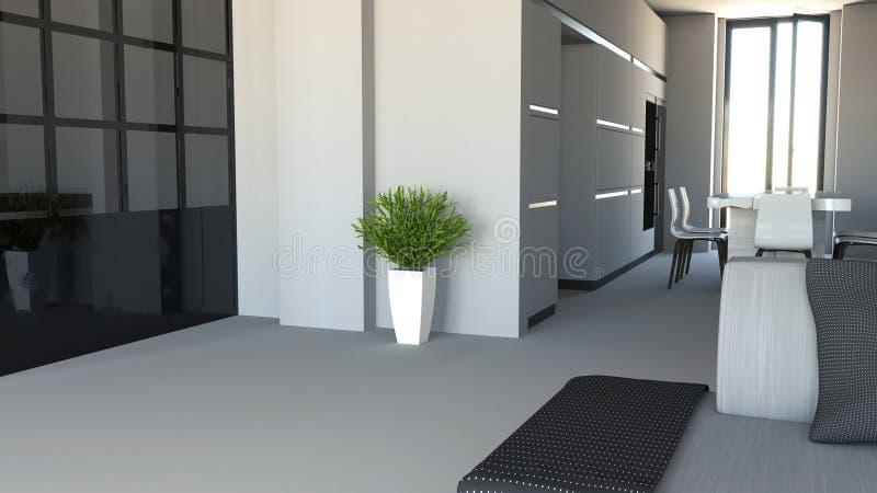 Wohnzimmer- und Küchenmöbel, Innenarchitektur Möbel und Geräte Eingang und offener Raum mit Blick auf eine Küche lizenzfreie abbildung