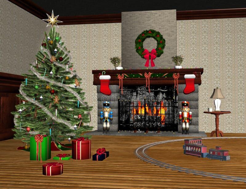 Wohnzimmer verziert für Weihnachten stockfoto