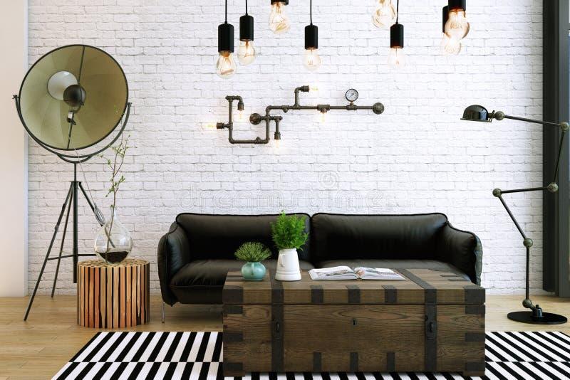 Wohnzimmerentwurf, Innenraum der industriellen Art lizenzfreie abbildung