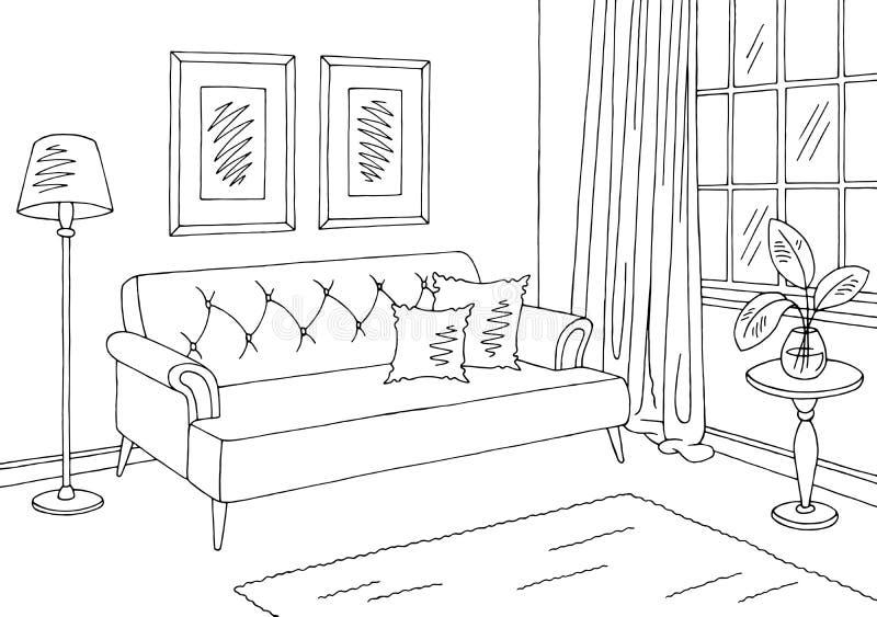 Wohnzimmergrafischer schwarzer weißer Innenskizzen-Illustrationsvektor stock abbildung