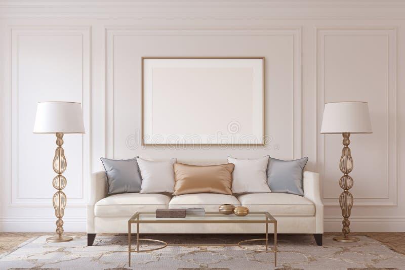 Wohnzimmerinnenraum 3d übertragen stock abbildung