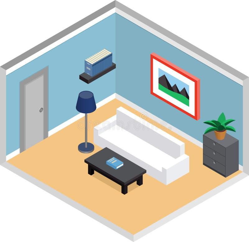 Wohnzimmerinnenraum in der isometrischen Art stock abbildung
