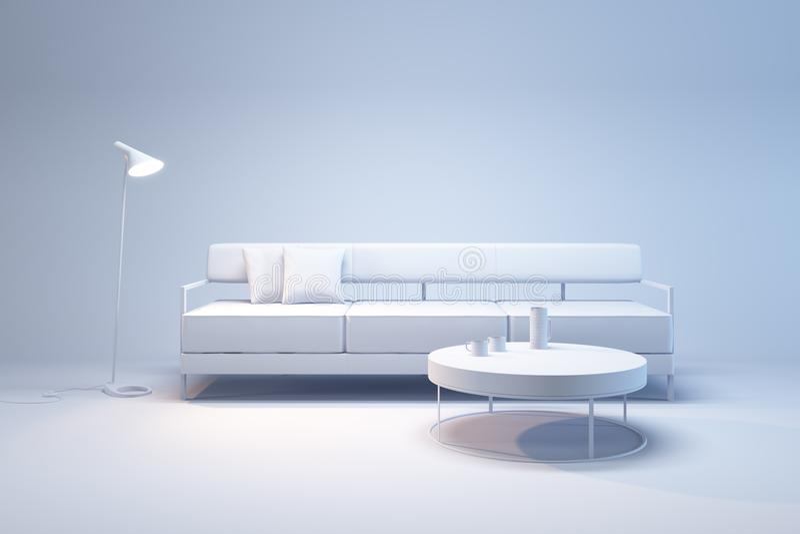 Wohnzimmerinnenraum in der Minimalismusart stockfoto
