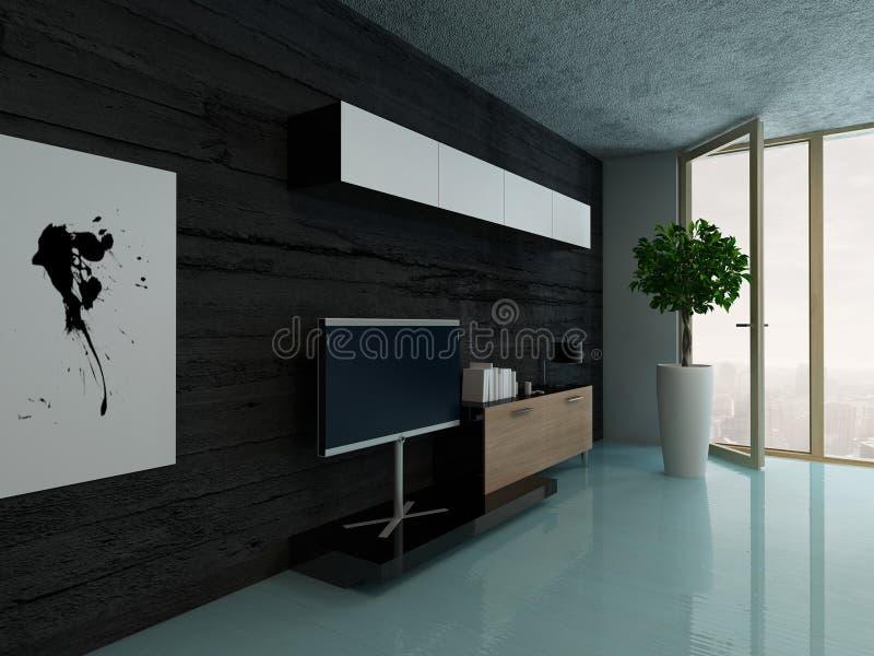 Wohnzimmerinnenraum mit Schrank gegen schwarze Steinwand vektor abbildung