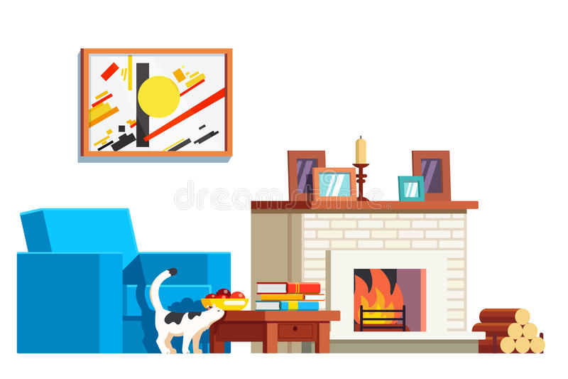 Wohnzimmermöbel mit Lehnsessel und Kamin stock abbildung