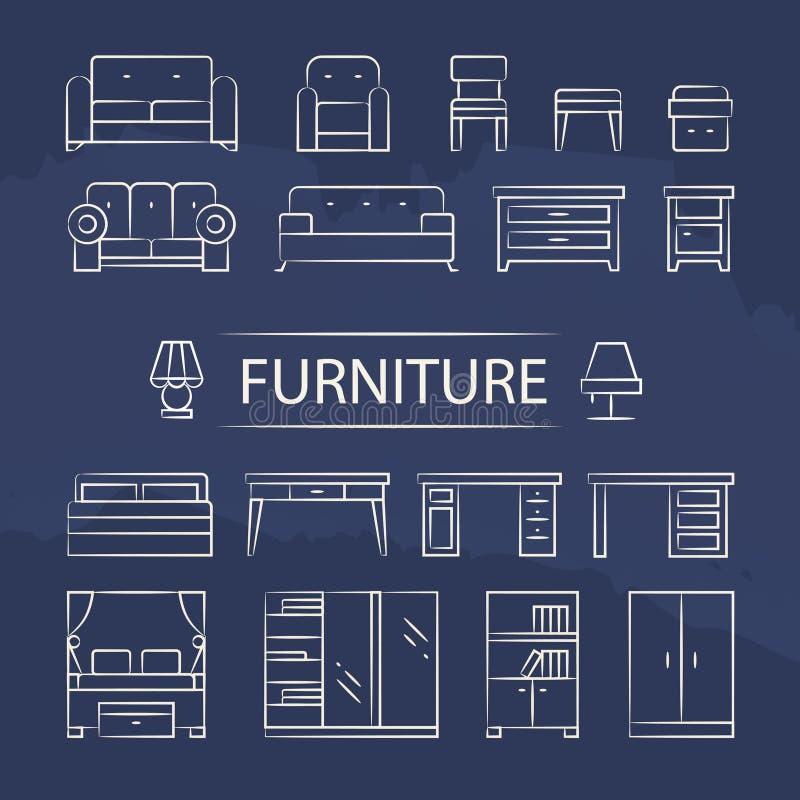 Wohnzimmermöbel und Tischlampelinie Ikonen eingestellt vektor abbildung