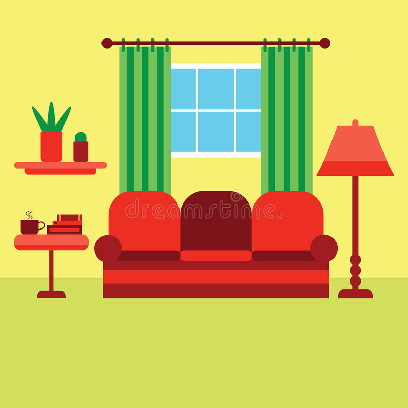 Wohnzimmervektorillustration lizenzfreie stockfotos