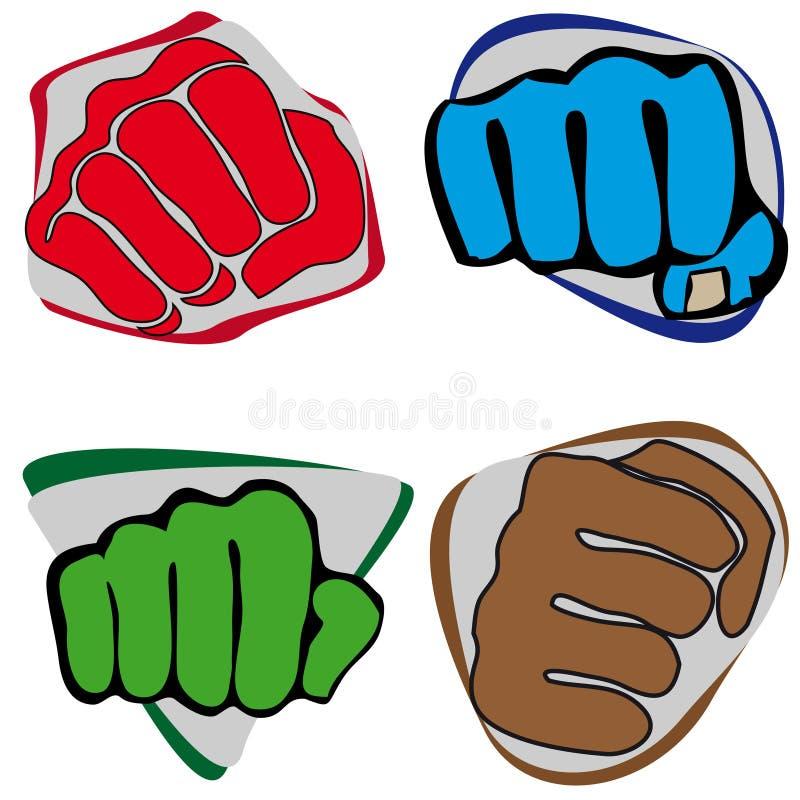 Wojenna symbol pięść. Karate styl. ilustracji