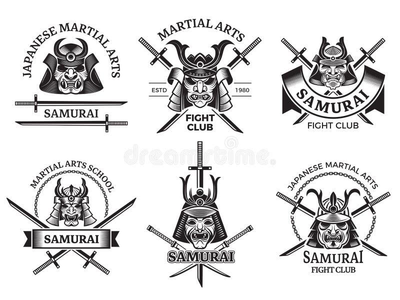 Wojenne azjata etykietki Samuraja wojownika agresywne maski i kordzika katany wektor przylepiają etykietkę logo lub tatuażu proje ilustracja wektor