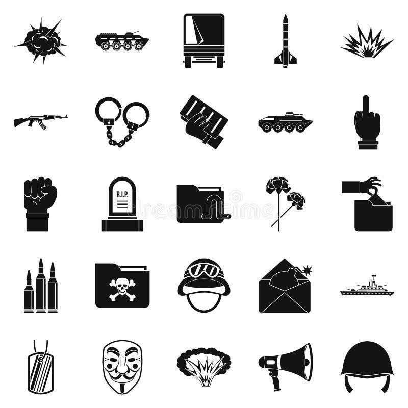 Wojenne ikony ustawiać, prosty styl ilustracja wektor
