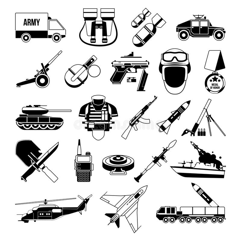 Wojenne monochromatyczne ikony ustawiać Sylwetka militarni obrazki Pancernik, żołnierze, ciężarówki i różne bronie, ilustracja wektor