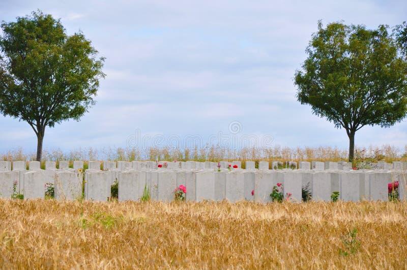 Wojenny cmentarz Somme, Francja - obraz stock