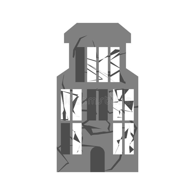 Wojna Łamający budynek Pęknięcia i drzazgi Zniszczona łatwość ilustracji