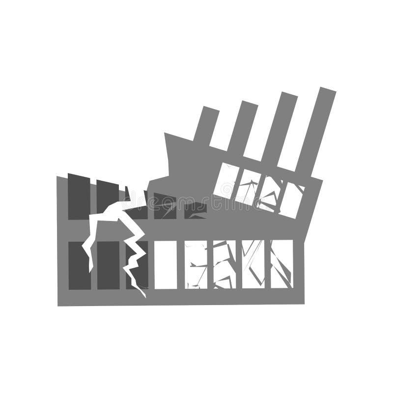 Wojna Łamający budynek Pęknięcia i drzazgi Zniszczona łatwość royalty ilustracja