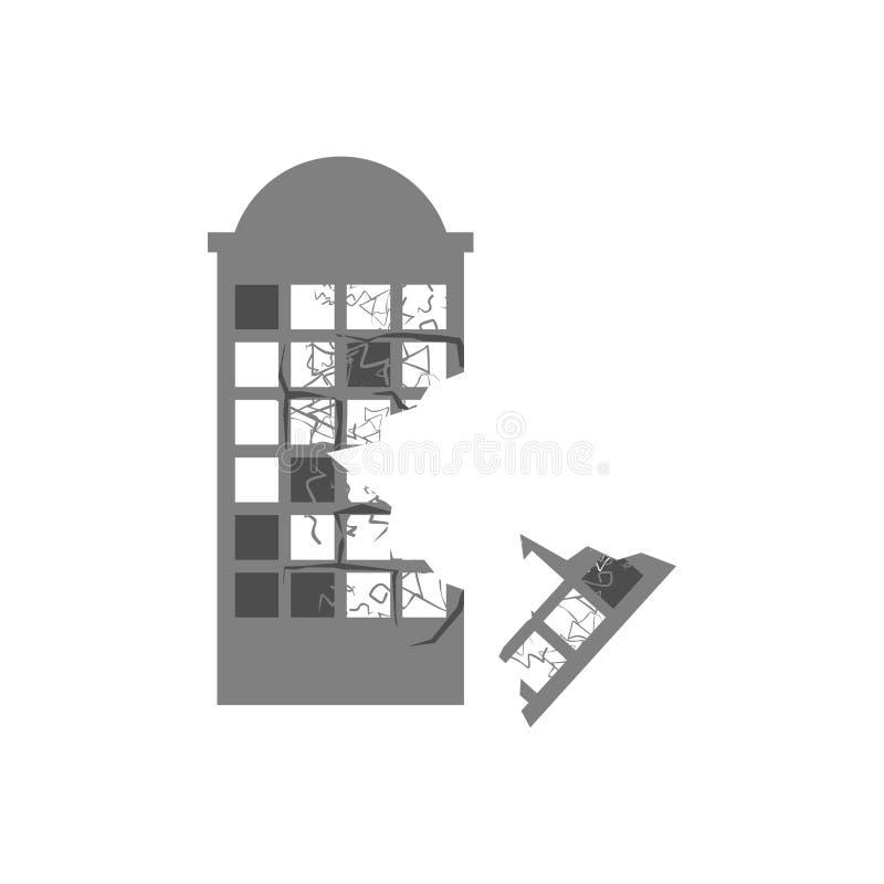 Wojna Łamający budynek Pęknięcia i drzazgi Zniszczona łatwość ilustracja wektor