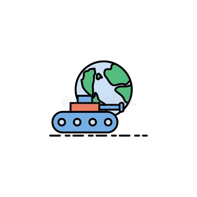 wojna światowa, cysternowa ikona Element historia koloru ikona dla mobilnych pojęcia i sieci apps Barwi wojnę światową, cysternow ilustracji