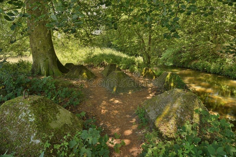 Wojna światowa dwa cysternowa łapać w pułapkę, obok Rzecznego Wey, Surrey obrazy royalty free