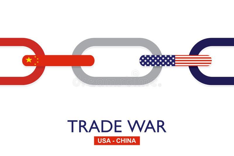 Wojna handlowa, usa versus Chiny Chiny taryfowy biznesowy globalny wekslowy zawody międzynarodowi ilustracja wektor