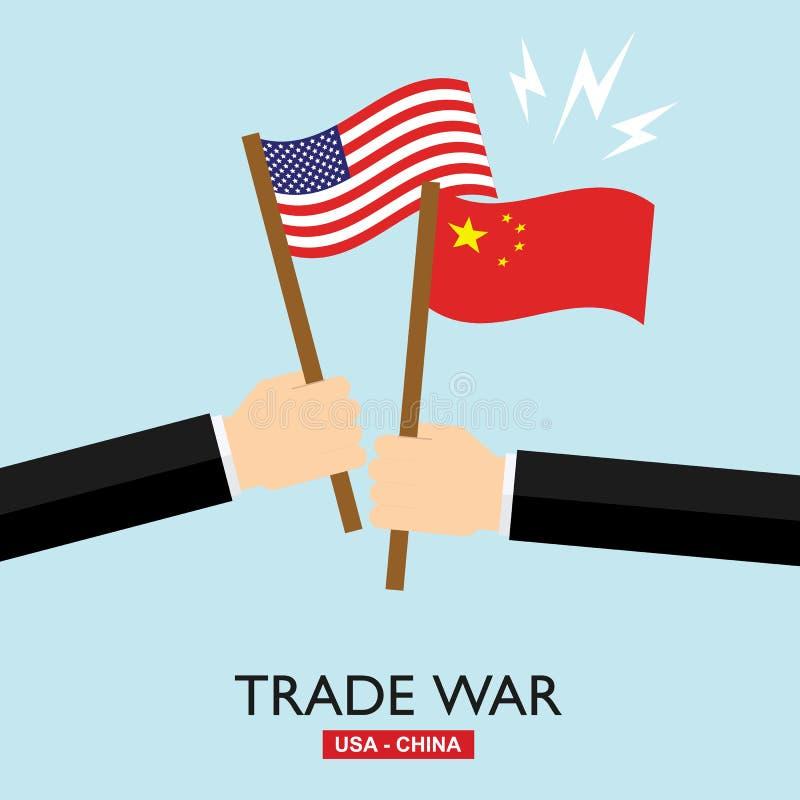 Wojna handlowa, usa versus Chiny Chiny taryfowy biznesowy globalny wekslowy zawody międzynarodowi ilustracji