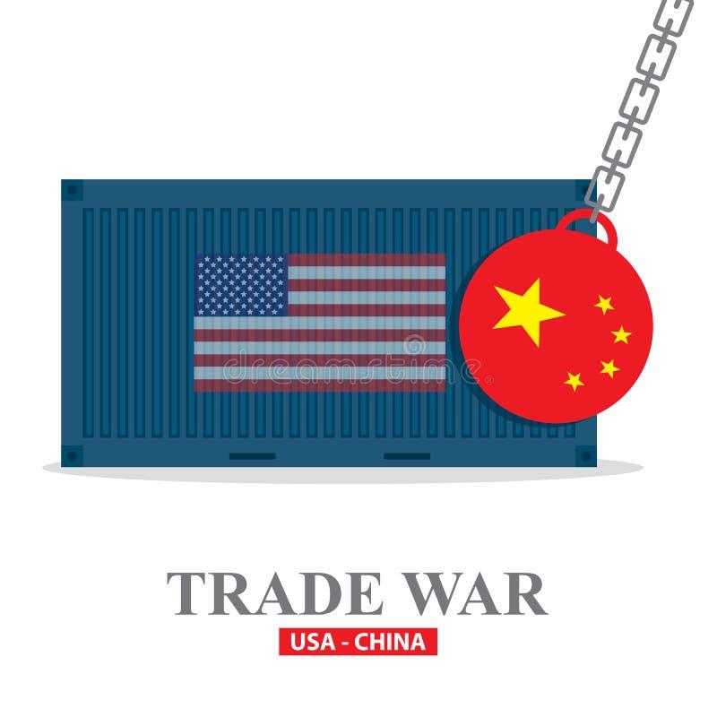 Wojna handlowa, usa versus Porcelanowa ilustracja Chiny taryfowy biznesowy globalny wekslowy zawody międzynarodowi ilustracja wektor