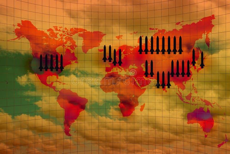 Wojny światowa mapa i jądrowy pocisk ilustracja wektor