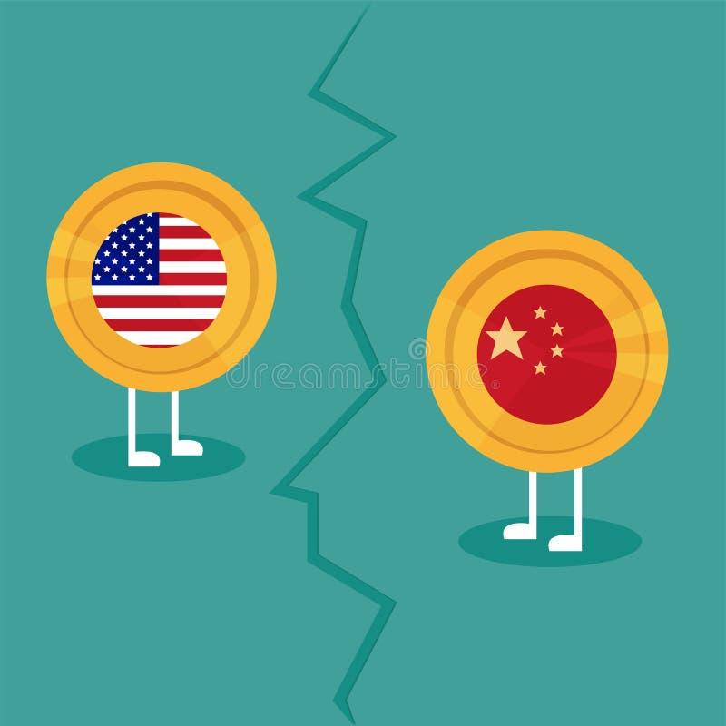 Wojny handlowa Ameryka Porcelanowy taryfowy biznesowy globalny wekslowy zawody międzynarodowi royalty ilustracja