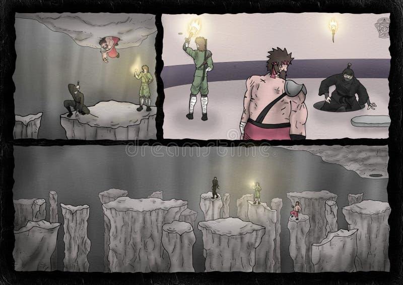 Wojownicy w tajemnicy cavern ilustracja wektor