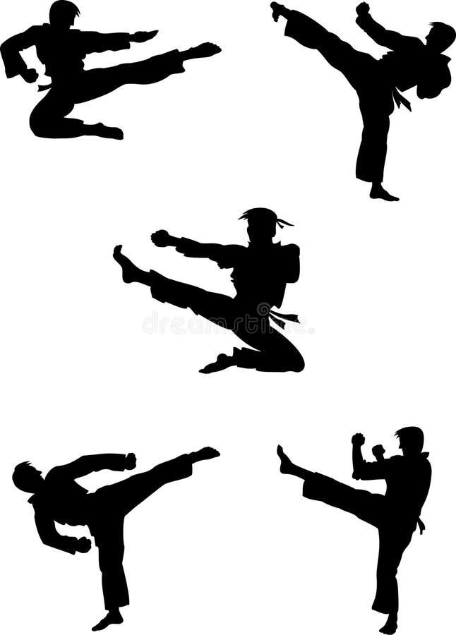 wojowników karate sylwetki ilustracja wektor