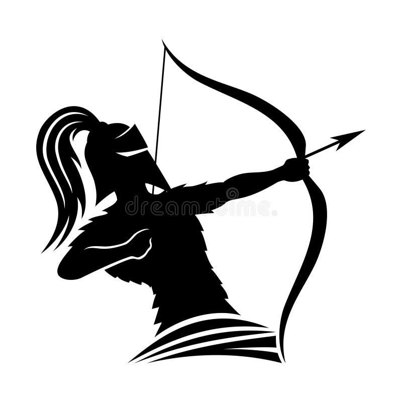 Wojownik łuczniczki znak ilustracja wektor