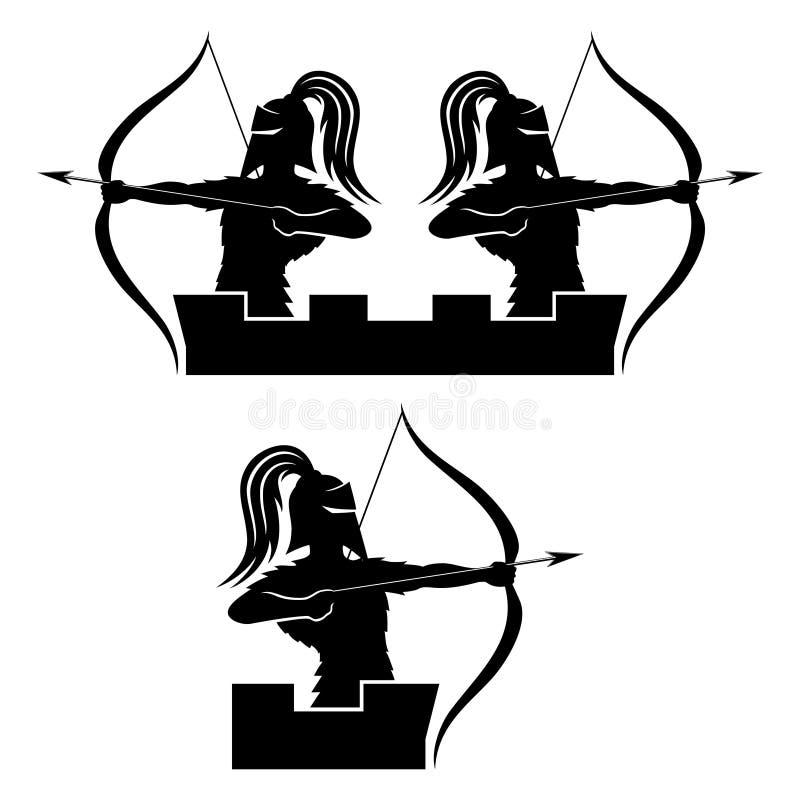 Wojownik łuczniczki znak ilustracji