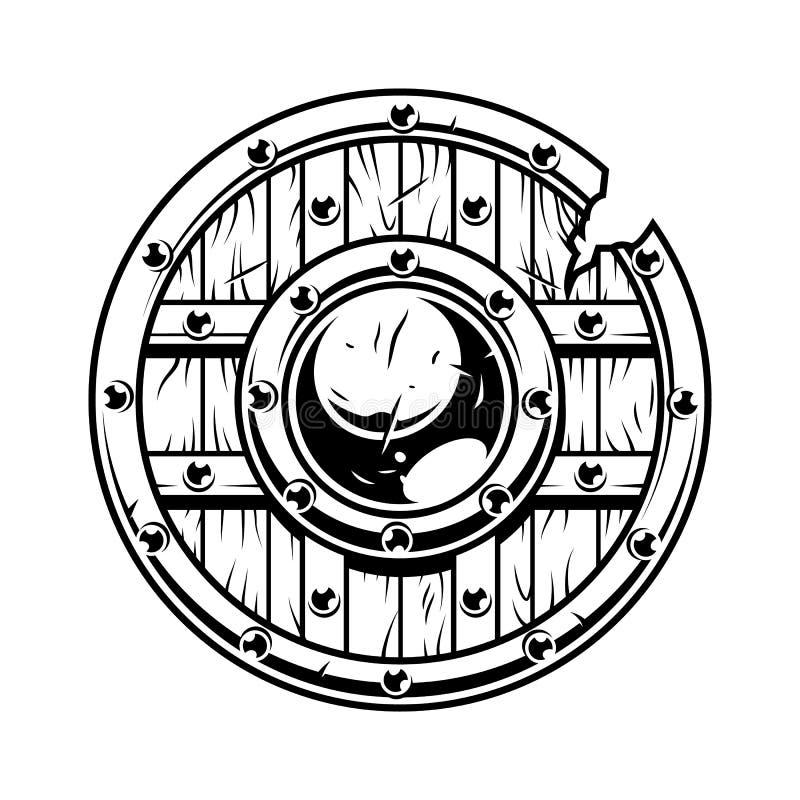 Wojownik drewniana osłona royalty ilustracja