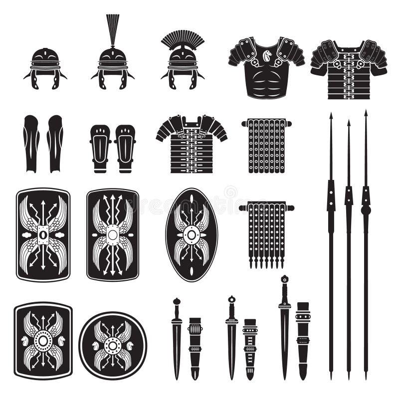 Wojownik serie - Romański wojska wyposażenia wektor ilustracji