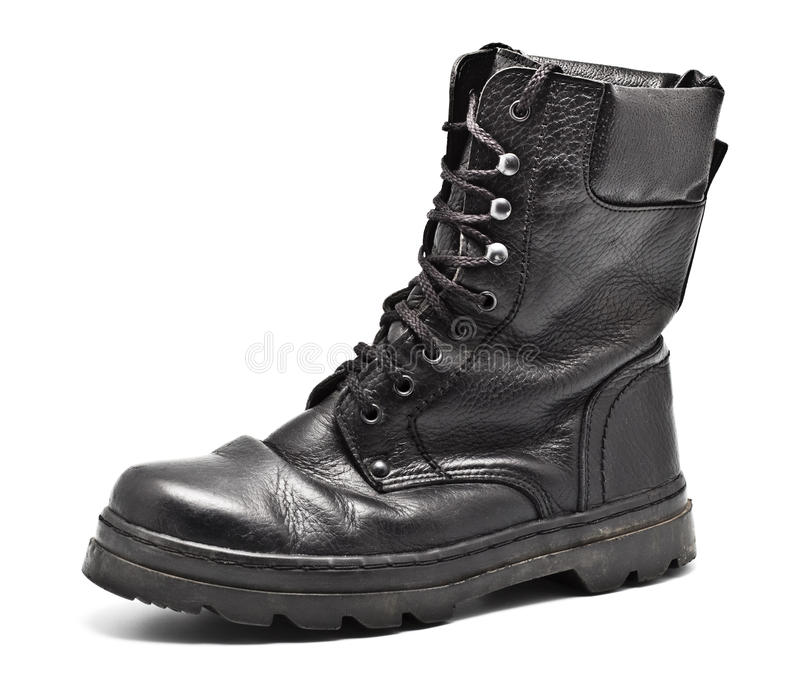 wojska czerń buta skóra zdjęcia royalty free