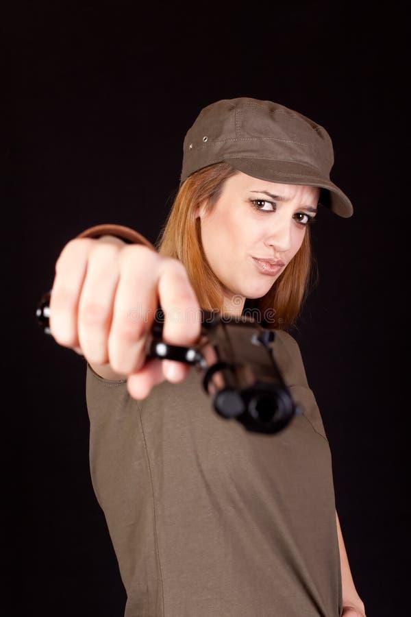 wojska dziewczyny pistolet zdjęcia royalty free