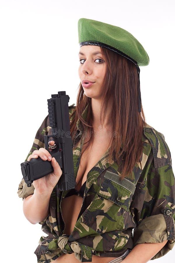 wojska dziewczyny pistoletu mienie zdjęcie royalty free