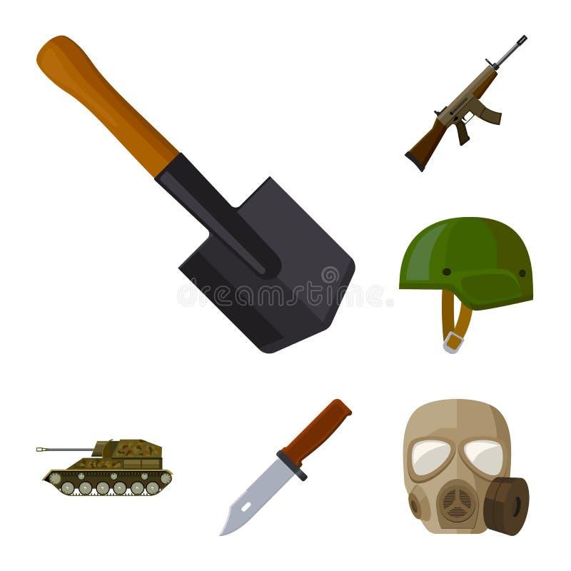 Wojska i uzbrojenie kreskówki ikony w ustalonej kolekci dla projekta Bronie i wyposażenie wektorowy symbol zaopatrują sieci ilust royalty ilustracja