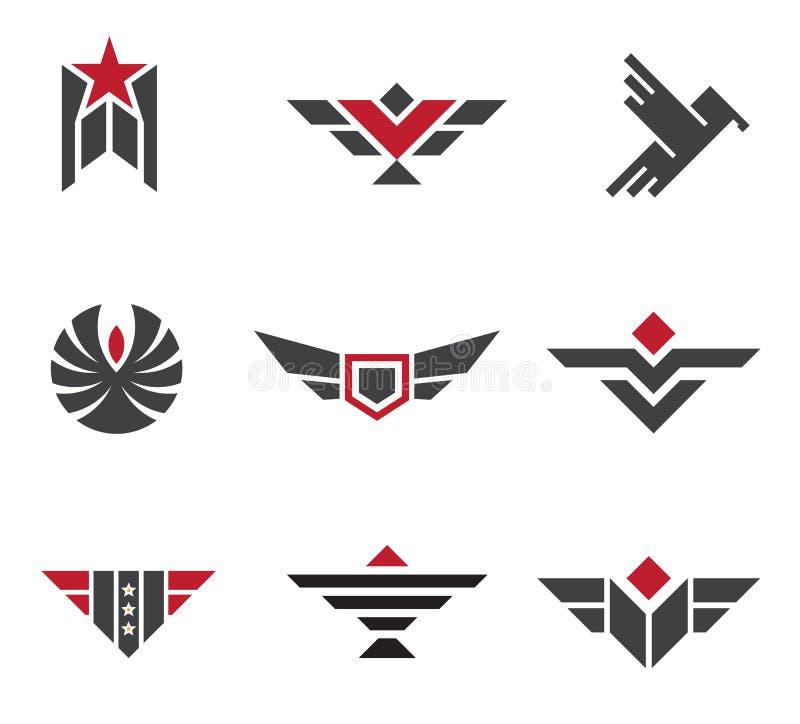 Wojska i wojskowego odznaki i siła symbole ilustracji